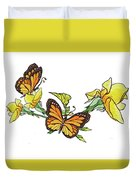 Yellow Roses And Monarch Butterflies Duvet Cover