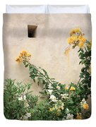Yellow Roses And Tiny Window At Carmel Mission Duvet Cover