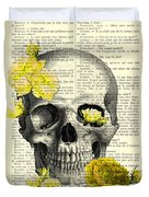 Skull With Yellow Roses Dictionary Art Print Duvet Cover
