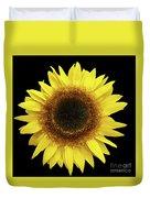Yellow Sunflower Isolated On Black Background 8 Duvet Cover