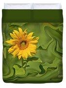 Yellow Sunflower On Green Background Duvet Cover
