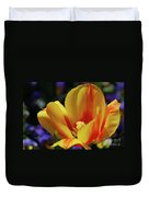 Yellow Tulip Blossom Streaked  With Red In The Spring Duvet Cover