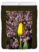 Yellow Tulip In The Garden Duvet Cover