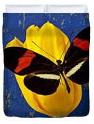 Yellow Tulip With Orange And Black Butterfly Duvet Cover