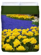 Yellow Tulips And Blue Muscari In Dutch Garden Duvet Cover