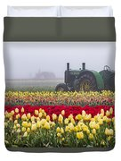 Yellow Tulips And Tractors Duvet Cover