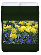 Yellow Tulips And Violets Duvet Cover