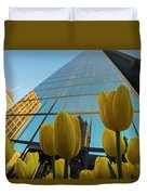 Yellow Tulips Looking Up At The Hancock Boston Ma Duvet Cover