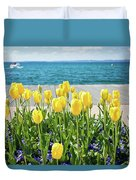 Yellow Tulips Near Lake Duvet Cover