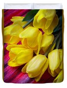 Yellow Tulips With Dew Drops Duvet Cover