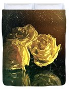 Yellow Vintage Roses  Duvet Cover