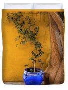 Yellow Wall, Blue Pot Duvet Cover