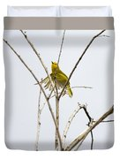 Yellow Warbler In Flight Duvet Cover