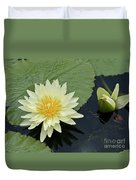 Yellow Water Lily With Bud Nymphaea Duvet Cover by Heiko Koehrer-Wagner