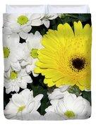 Yellow White Flowers Duvet Cover