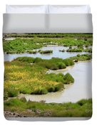 Yellow Wildflowers At Mud Volcano Area In Yellowstone National Park Duvet Cover
