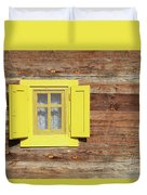Yellow Window On Wooden Hut Wall Duvet Cover