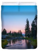 Yellowstone National Park Sunset And Moon Duvet Cover