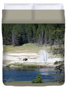 Yellowstone Park Bison In August Duvet Cover