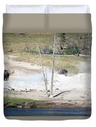 Yellowstone Park Bisons In August Duvet Cover