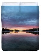 Yellowstone River Sunrise Colors Duvet Cover