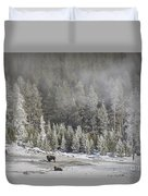 Yellowstone Winter Landscape Duvet Cover
