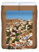 Yialos Town On Symi Island Duvet Cover