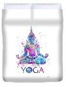Yoga Meditation Watercolor Print Duvet Cover