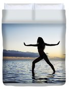 Yoga On The Coastline Duvet Cover