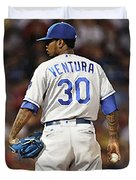 Kansas City Royals, Yordano Ace Ventura,  Painting, Forever Blue Duvet Cover