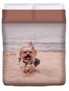 York Dog Playing On The Beach. Duvet Cover