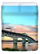 York River Bridge Duvet Cover by Harry Warrick