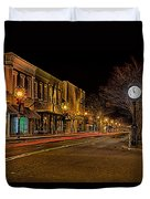 York South Carolina Downtown During Christmas Duvet Cover
