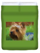 Yorkie In The Grass - Painting Duvet Cover