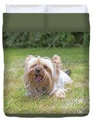 Yorkshire Terrier Is Smiling At The Camera Duvet Cover