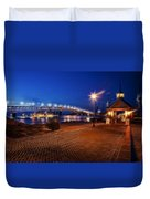 Yorktown Waterfront At Night Duvet Cover