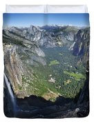 Yosemite Falls And Valley From Eagle Tower - Yosemite Duvet Cover