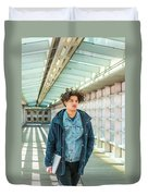 Young American College Student In New York Duvet Cover