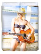 Young Attractive Blonde Woman Playing Guitar Duvet Cover