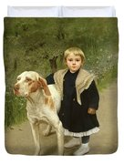 Young Child And A Big Dog Duvet Cover by Luigi Toro