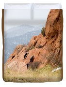 Young Climber In Red Rock Canyon Duvet Cover