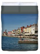 Young Couple Fishing Reading Sunbathing On Dock At Piran Sloveni Duvet Cover