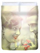 Young Couple Flirting Duvet Cover