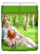 Young Couple In The Park Duvet Cover