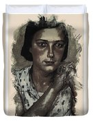 Young Faces From The Past Series By Adam Asar, No 112 Duvet Cover