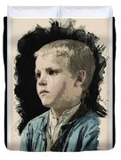 Young Faces From The Past Series By Adam Asar, No 77 Duvet Cover