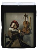 Young Flute Player , Judith Leyster, 1630 Duvet Cover