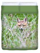 Young Fox Kit Hiding In Tall Grass Duvet Cover