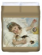 Young Girl And Cat Duvet Cover