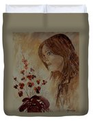 Young Girl And Flowers  Duvet Cover